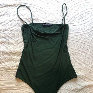 PrettyLittleThing Green Thong Bodysuit Size 4